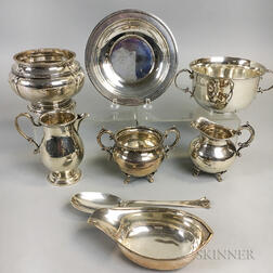 Eight Pieces of English Sterling Silver Tableware