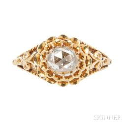 Antique Gold and Rose-cut Diamond Ring