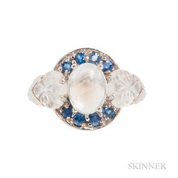 14kt White Gold, Moonstone, and Carved Moonstone Ring