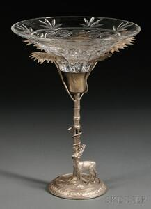 Silvered Metal Figural Tazza Centerpiece