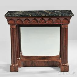 Carved Mahogany and Mahogany Veneer Marble-top Pier Table