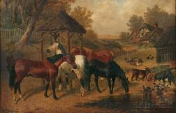 Attributed to John Frederick Herring Jr. (British, 1815-1907)      Horses Watering at a Farmyard Pool