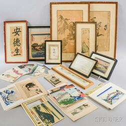 Large Group of Japanese Print Reproductions, Later Editions, Postcards, and Framed Prints