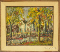 Harold C. Wolcott (American, 1898-1977)      Fall Landscape with Pond and Houses