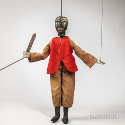 Carved and Painted Black Marionette with Dagger