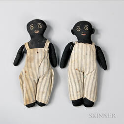Two Black Stockinette Male Dolls