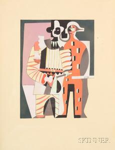 After Pablo Picasso (Spanish, 1881-1973)      Pierrot and Harlequin