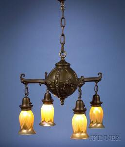 Ceiling Light Fixture with Steuben Shades