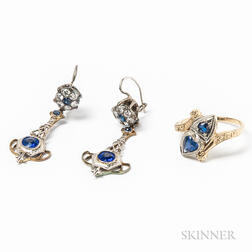 14kt Bicolor Gold and Sapphire Ring and a Pair of 14kt Gold, Diamond, and Synthetic Stone Earrings