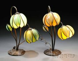 Two Handel-style Pond Lily Lamps