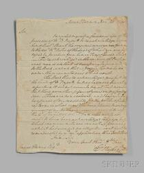 Washington, George (1732-1799) Autograph Letter Signed, Mount Vernon, 20 November 1790.