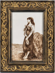Painted Porcelain Plaque of a Gypsy