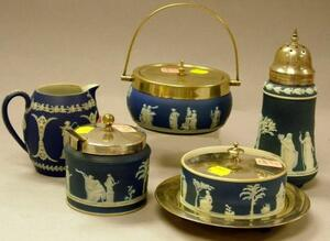 Wedgwood Dark Blue Jasper Dip and Silver Plate Mounted Box, Caster, Jam Pot, Box and Undertray, and a Small Jug.