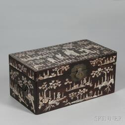 Portable Lacquered Box Inlaid with Mother-of-pearl