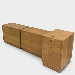 Pair of Charles Webb Oak Two-drawer Chests and a File Cabinet.     Estimate $300-500