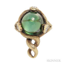 Antique Gold, Green Tourmaline, and Diamond Ring