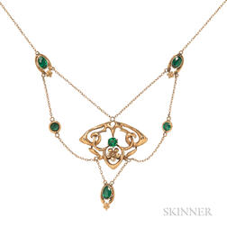 Art Nouveau 9kt Gold and Green Glass Necklace