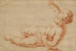 Italian School, 17th Century      Putto Reclining on One Elbow, Other Arm Raised