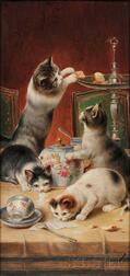 Carl Reichert (Austrian, 1836-1918)      Naughty Kittens at Teatime