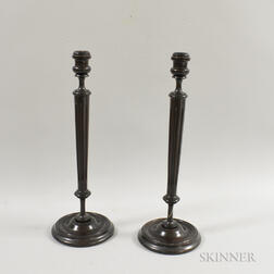 Pair of Pressed Wood Candlesticks