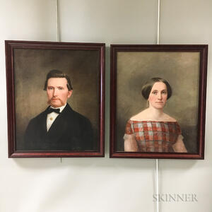 American School, 19th Century       Portraits of a Man and Wife