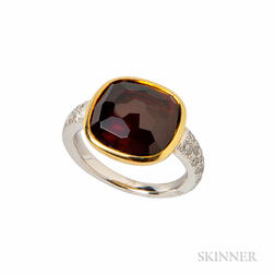 18kt Gold, Garnet, and Diamond Ring