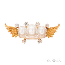 Antique Gold, Moonstone Cameo, and Diamond Brooch