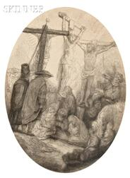 Rembrandt van Rijn (Dutch, 1606-1669)      Christ Crucified Between the Two Thieves: An Oval Plate