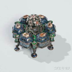 Indian Silver and Enamel Spice Box