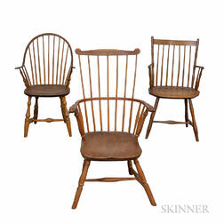 Three Windsor Armchairs.     Estimate $250-350