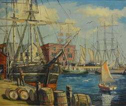 """Manuel J. Sylvia (American, 20th Century)      Whale Bark """"Wandere"""" Fitting Out"""