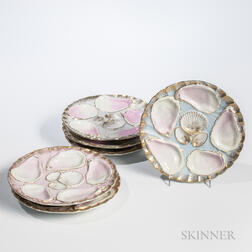 Set of Twelve German Porcelain Oyster Plates