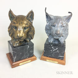 Forest Hart (American, Late 20th Century) Bronze Portraits of a Bobcat and a Lynx