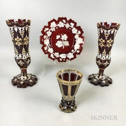 Four Enameled and Gilt Ruby Glass Items