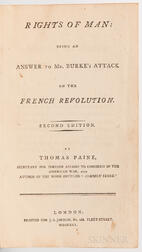 Paine, Thomas (1737-1809) Rights of Man: Being an Answer to Mr. Burke's Attack on the French Revolution.