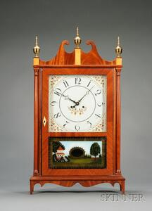 Mahogany Reproduction Pillar and Scroll Clock by Elmer O. Stennes