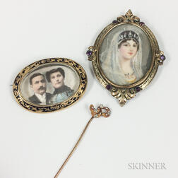 Two Portrait Brooches and a Diamond-set Stickpin
