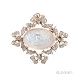 Carved Moonstone and Diamond Pendant/Brooch