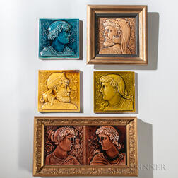 Six Minton Hollins and Co. Art Pottery Tiles Depicting Ancient Peoples of Europe