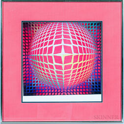 Framed Photographic Reproduction After Vasarely.     Estimate $20-200