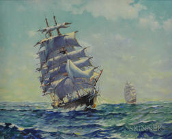 H. Silva Fernandes (American, 20th Century)      Clipper Ship at Sea