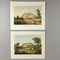 Sarony & Co. East Rock, New Haven   and West Rock, New Haven   Hand-colored Lithographs