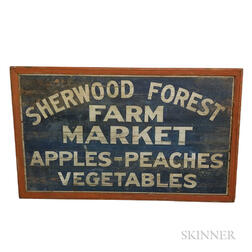 "Large Polychrome Painted ""Sherwood Forest Farm Market"" Sign"