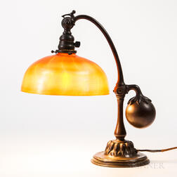 Tiffany Studios Counterbalanced Desk Lamp with Favrile Glass Shade