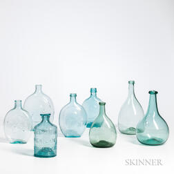 Eight Blue/Green Blown Glass Bottles