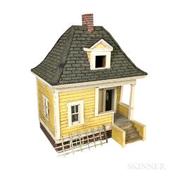 Painted Wood Model of a House