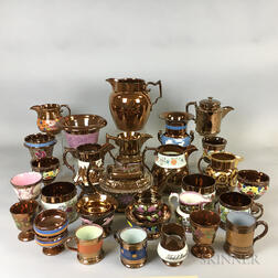 Thirty-two Copper Lustre Ceramic Vessels.