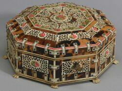 Anglo-Indian Tortoiseshell and Ivory Octagonal Sewing Box