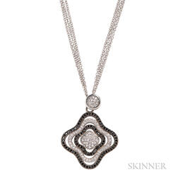 Sterling Silver, Black Diamond, and Diamond Pendant