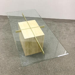 Modern Glass, Brass, and Travertine Coffee Table